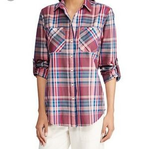NWT Lauren Ralph Lauren Pink Plaid Top